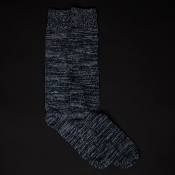 ARDMORE BLUE VARIGATED COTTON BOOT SOCKS - THE LODGE  - 1