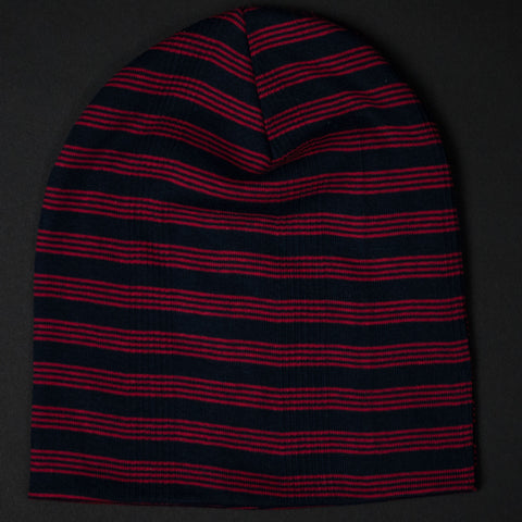 COTTON KNIT BEANIE NAVY/RED TRACK STRIPE - THE LODGE  - 1