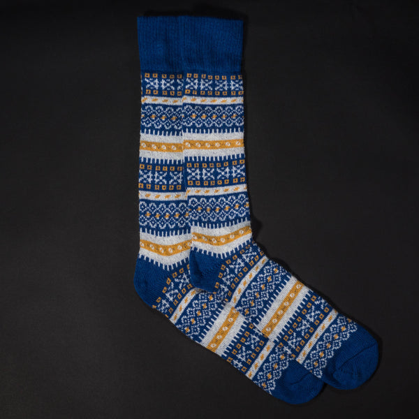 American Trench Blue FairIsle Cashmere Socks at The Lodge