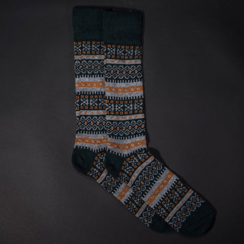 Olive American Trench FairIsle Socks at The Lodge