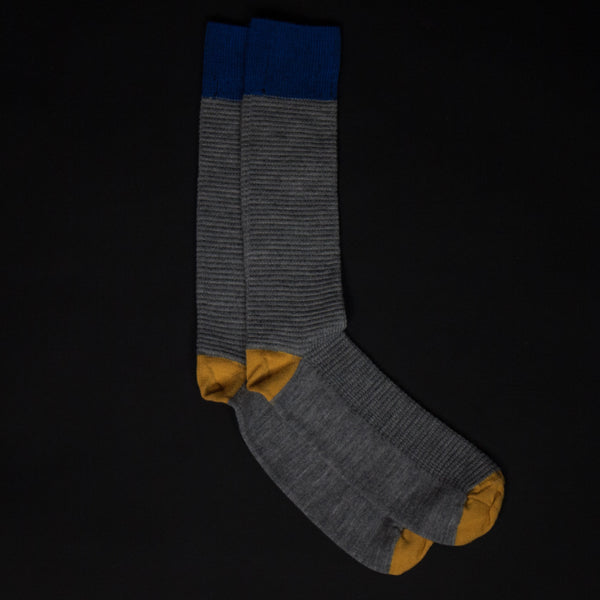 THERMAL KNIT SOCKS GREY/ BLUE - THE LODGE  - 1