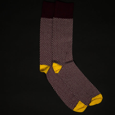 RED PIMA COTTON HERRINGBONE SOCKS - THE LODGE  - 1
