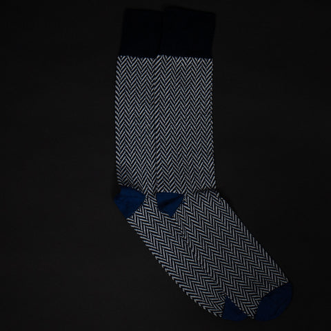 DARK NAVY PIMA COTTON HERRINGBONE SOCKS - THE LODGE  - 1