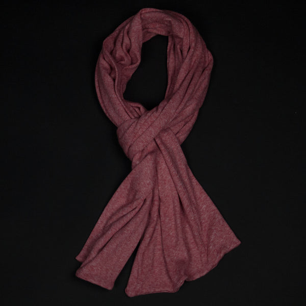 COTTON KNIT MINISTRIPE SCARF RED - THE LODGE  - 1