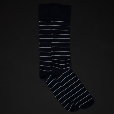 American Trench Navy/White Pima Cotton Nautical Stripe Socks at The Lodge