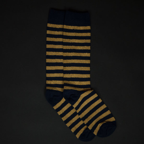 American Trench Navy/Ochre Rugby Stripe Socks at The Lodge