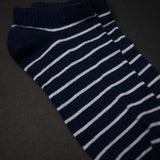 NAVY STRIPE NO-SHOW SUPIMA COTTON SOCKS
