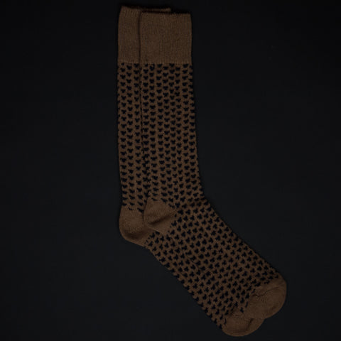 CAMEL WOOL/CASHMERE PYRAMID KNIT SOCKS