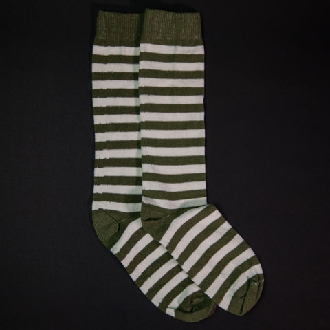 American Trench Rugby Stripe Socks Military/Natural at The Lodge