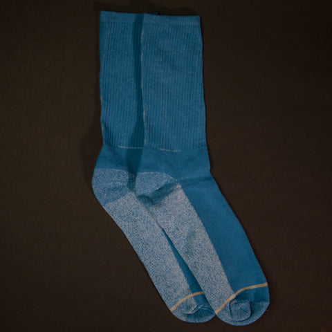 American Trench Light Blue Silver/Cotton Crew Socks at The Lodge