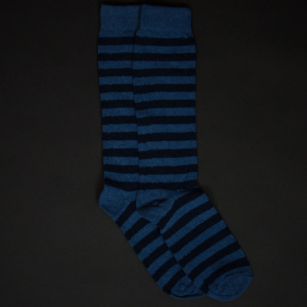 American Trench Slate/Navy Rugby Stripe Socks at The Lodge