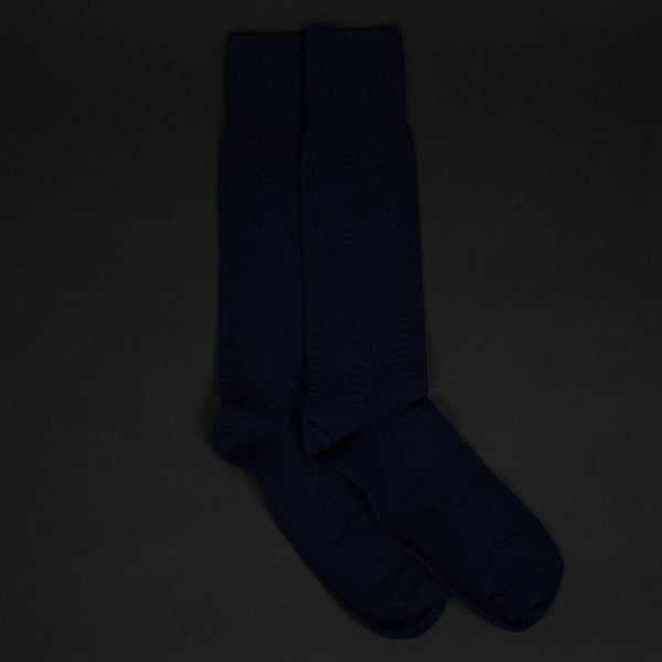 American Trench Cotton Supima Herringbone Socks Navy at The Lodge