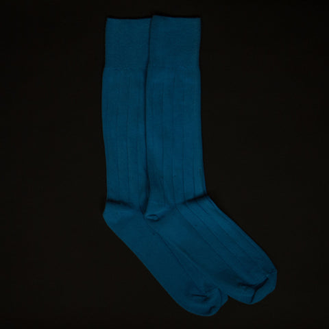 American Trench Supima Cotton Rib Socks Blue at The Lodge