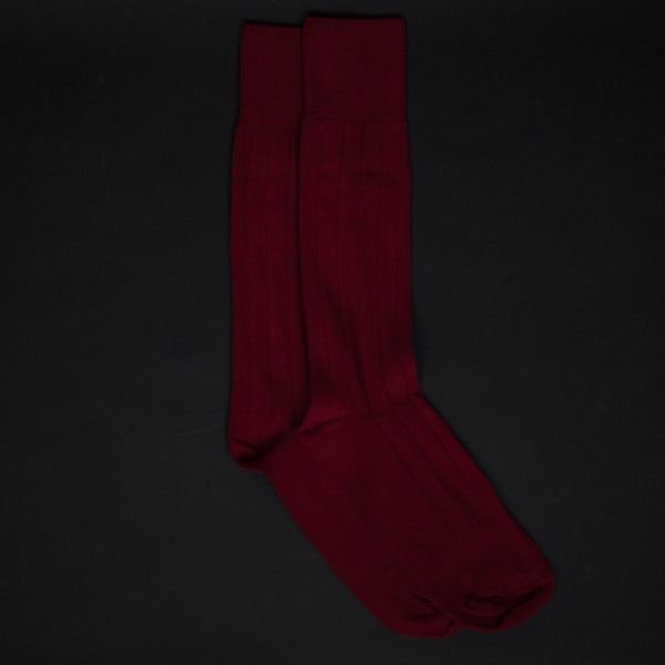 American Trench Supima Cotton Dress Rib Socks Red at The Lodge