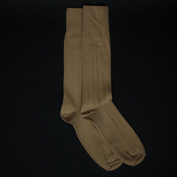 American Trench Supima Cotton Rib Socks Tan at The Lodge