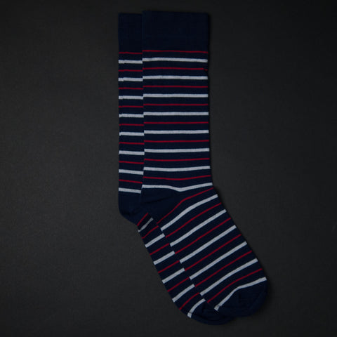 American Trench Supima Navy Stripe Socks at The Lodge
