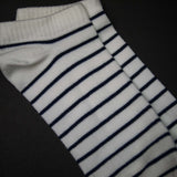 WHITE STRIPE NO-SHOW SUPIMA COTTON SOCKS