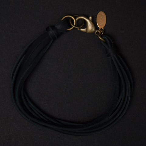 Astali Lasso Black Leather Deerskin Bracelet at The Lodge Man Shop