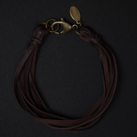 Astali Lasso Brown Leather Deerskin Men's Bracelet at The Lodge