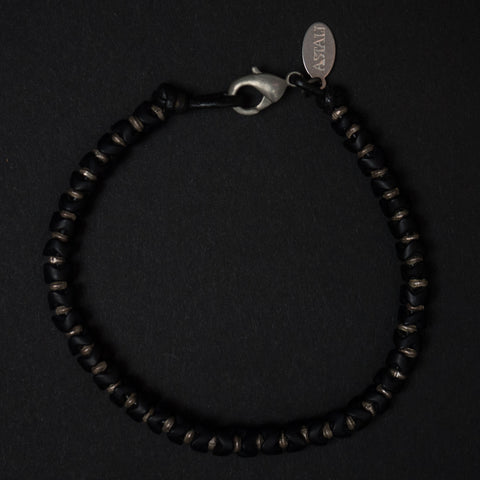 Astali Malibu Silver & Black Snake Glass Bracelet at The Lodge Man Shop