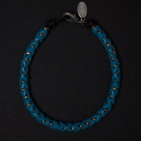 Astali Malibu Turquoise & Silver Snake Glass Bracelet at The Lodge Man Shop