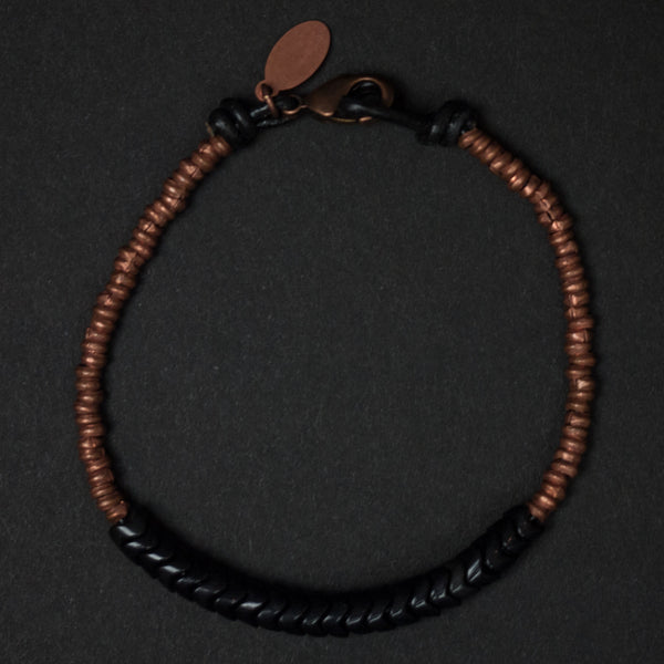 Astali Ventura Black Snake Glass & Copper Beaded Bracelet at The Lodge Man Shop