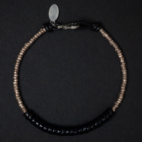 Astali Ventura Black Snake Glass & Silver Heishi Beaded Bracelet at The Lodge Man Shop