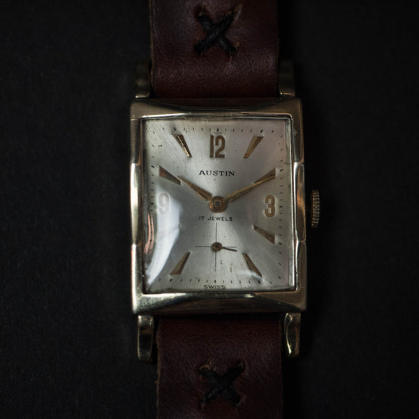 Vintage Austin Watch with Brown Leather Strap at The Lodge