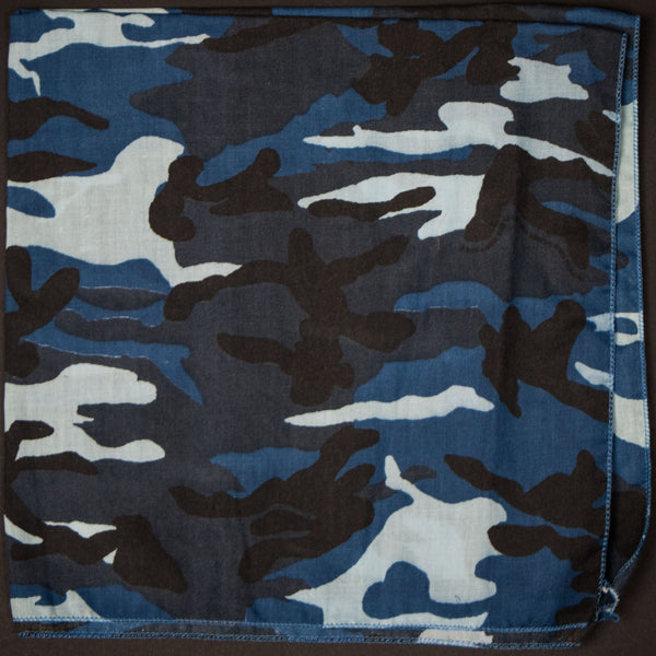 WASHED BLUE CAMOUFLAGE BANDANA - THE LODGE  - 1