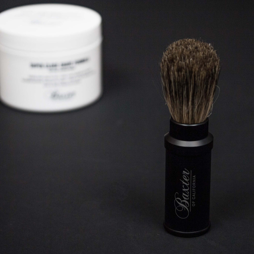 BAXTER ALUMINUM TRAVEL SHAVE BRUSH