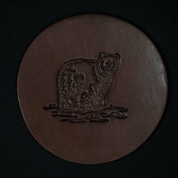 TOOLED LEATHER COASTERS BEAR- SET OF 4 - THE LODGE  - 1