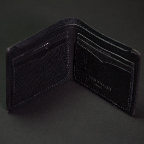 Coronado Leather Black Bison Billfold Wallet at The Lodge