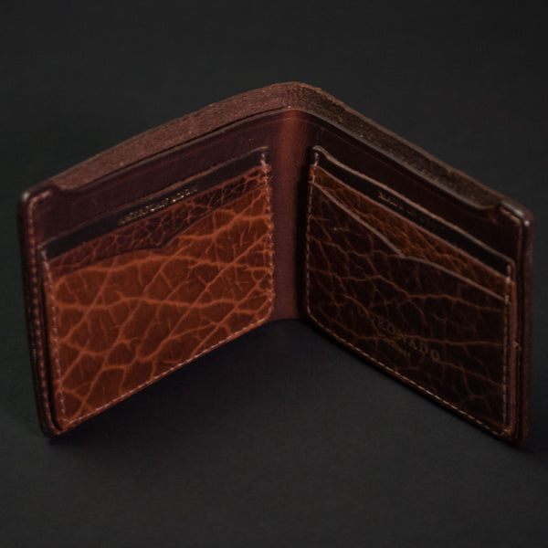 Coronado Leather Walnut Bison Leather Billfold Wallet at The Lodge
