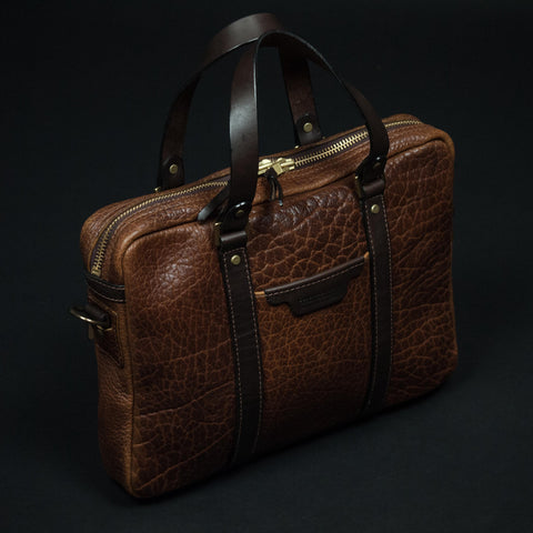 CORONADO BISON LEATHER BRIEFCASE SADDLE - THE LODGE  - 1