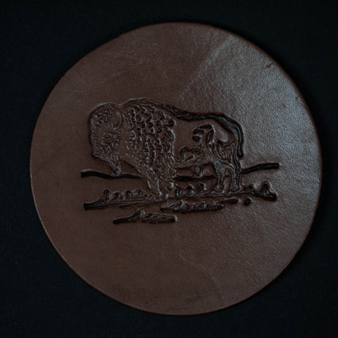 TOOLED LEATHER COASTERS BISON SET OF 4 - THE LODGE  - 1