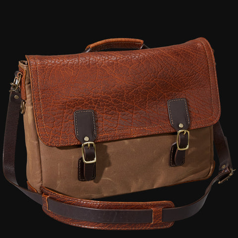Coronado Redwood Bison Leather and Waxed Canvas Messenger Bag