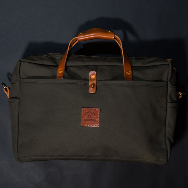 Bradley Mountain Olive Courier Briefcase Waxed Canvas at The Lodge