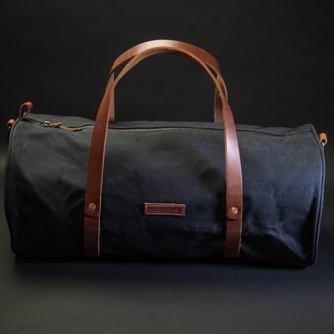 Bradley Mountain Duffel Bag Black Waxed Twill at The Lodge Man Shop