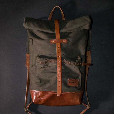Bradley Mountain Olive Biographer Backpack Waxed Canvas at The Lodge
