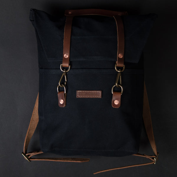 BLACK SCOUT BACKPACK WAXED CANVAS