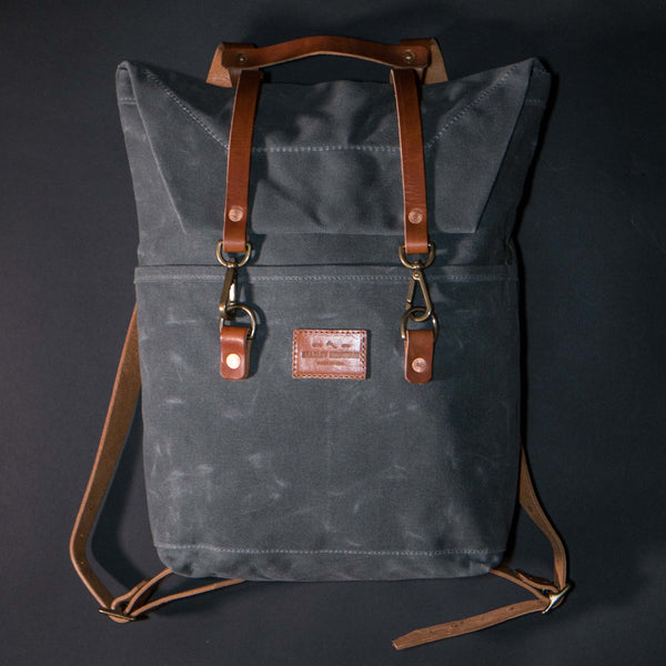 Bradley Mountain Scout Pack Grey Waxed Canvas at The Lodge