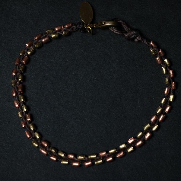 BRASS & COPPER BEADED BRACELET - THE LODGE  - 1