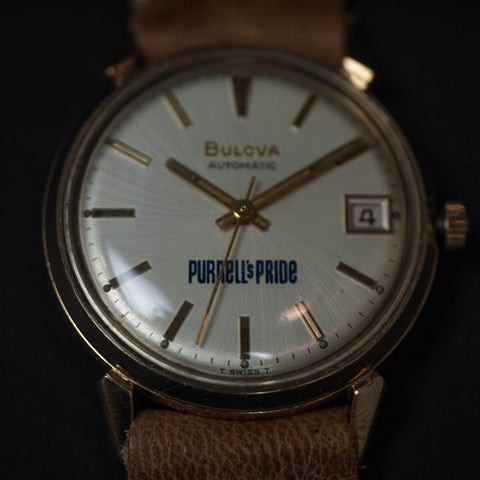 Vintage Bulova Watch Gold with Natural Leather Strap at The Lodge