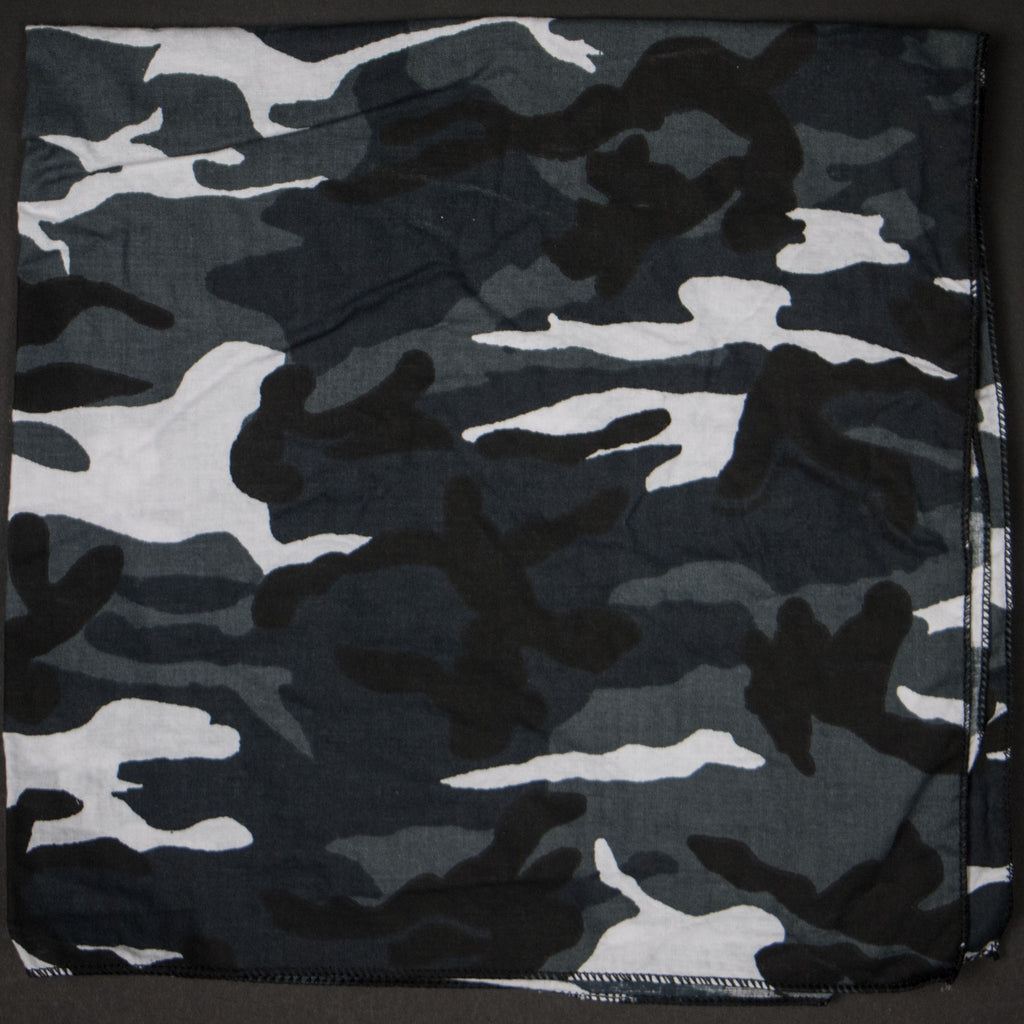 WASHED BLACK CAMOUFLAGE BANDANA - THE LODGE  - 1