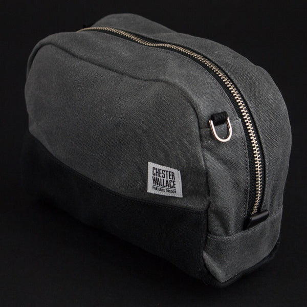 CHESTER WALLACE DOPP KIT GREY WAXED CANVAS - THE LODGE  - 1