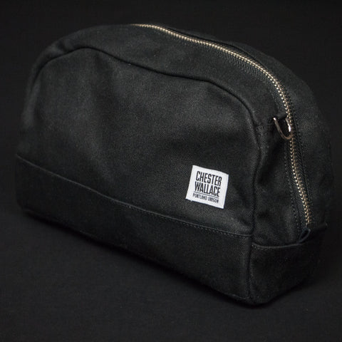 CHESTER WALLACE DOPP KIT BLACK WAXED CANVAS - THE LODGE  - 1