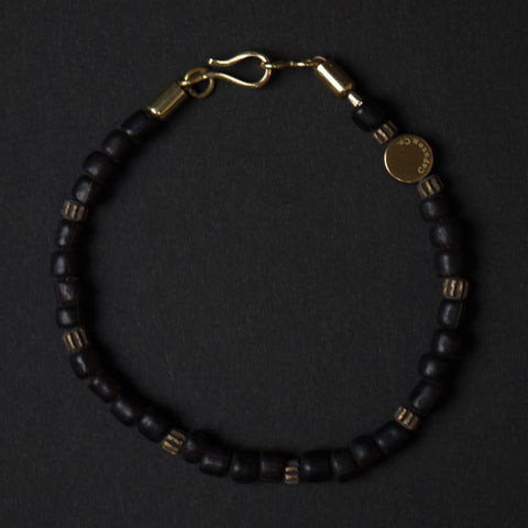 Caputo Black Glass Brass Beaded Bracelet at The Lodge
