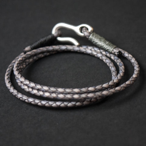 Caputo Grey Washed Leather Triple Wrap Bracelet at The Lodge