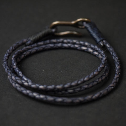 Caputo & Co Antique Navy Triple Wrap Braided Leather Bracelet at The Lodge