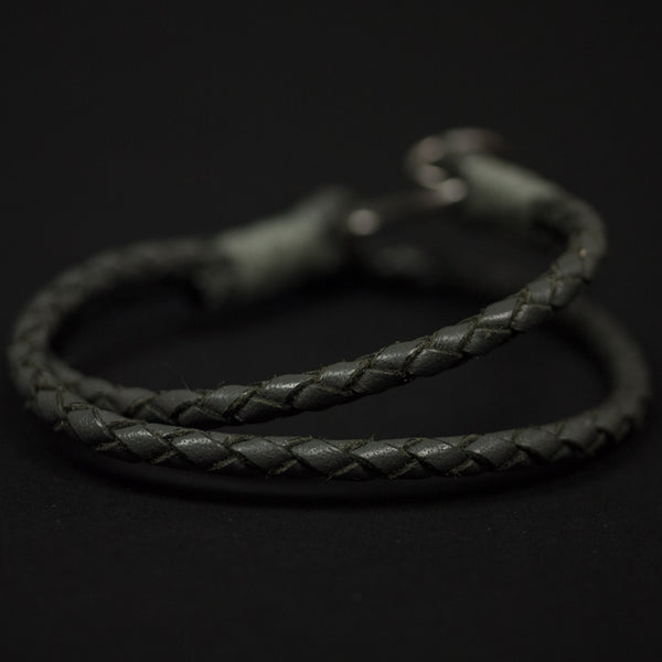 Caputo & Co Braided Double Wrap Leather Bracelet Grey at The Lodge